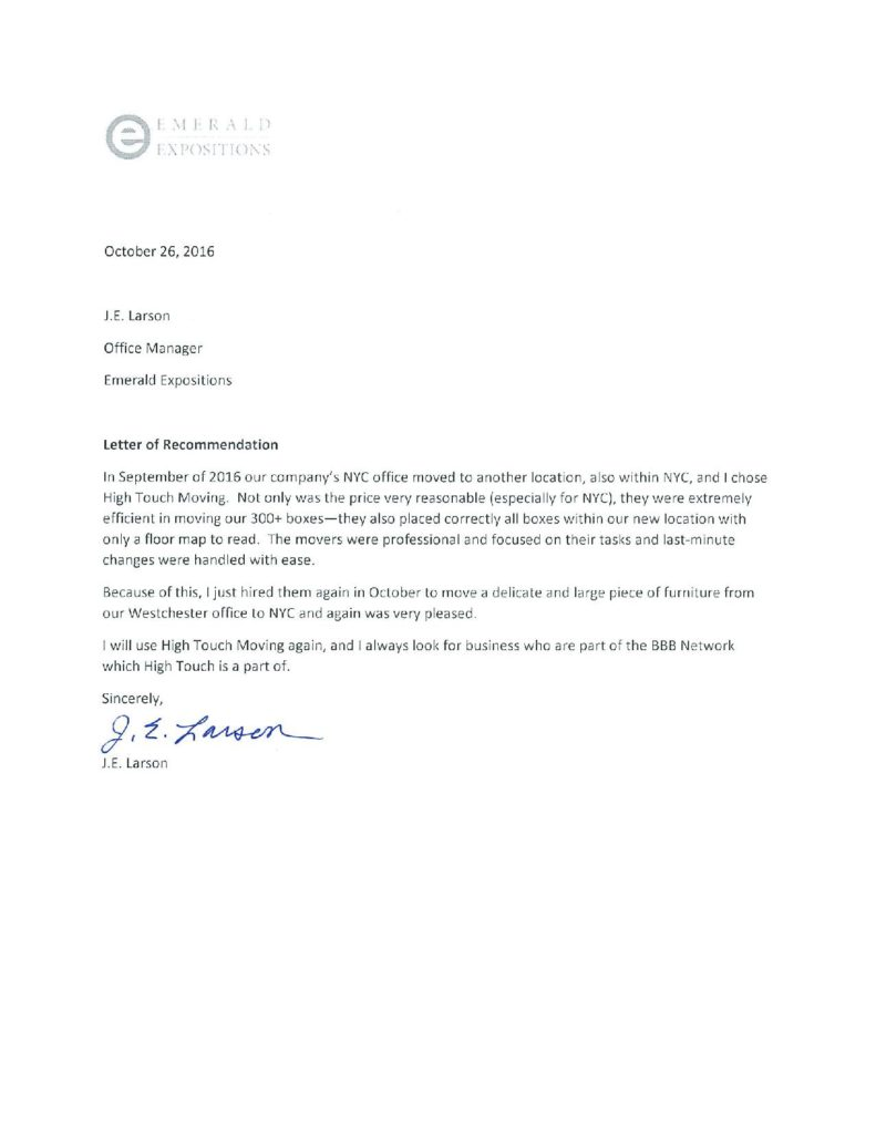 letter of recommendation for office manager